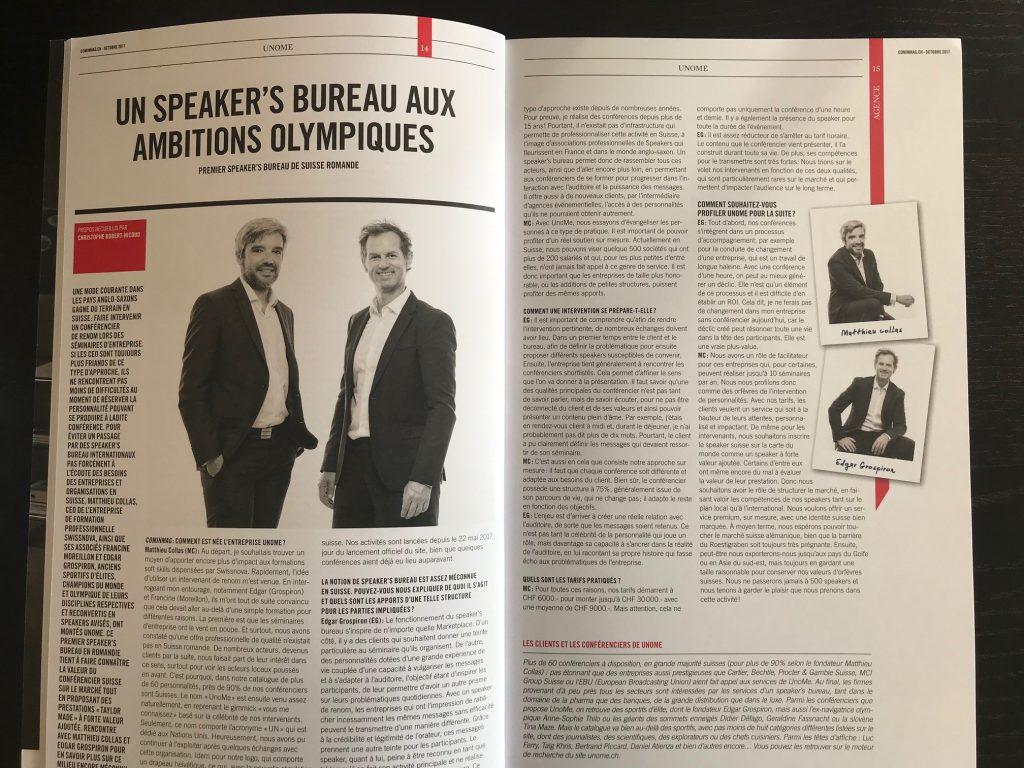 Article dans le CominMag d'octobre 2017 - La création de UnoMe avec Edgar Grospiron, Francine Moreillon et Matthieu Collas