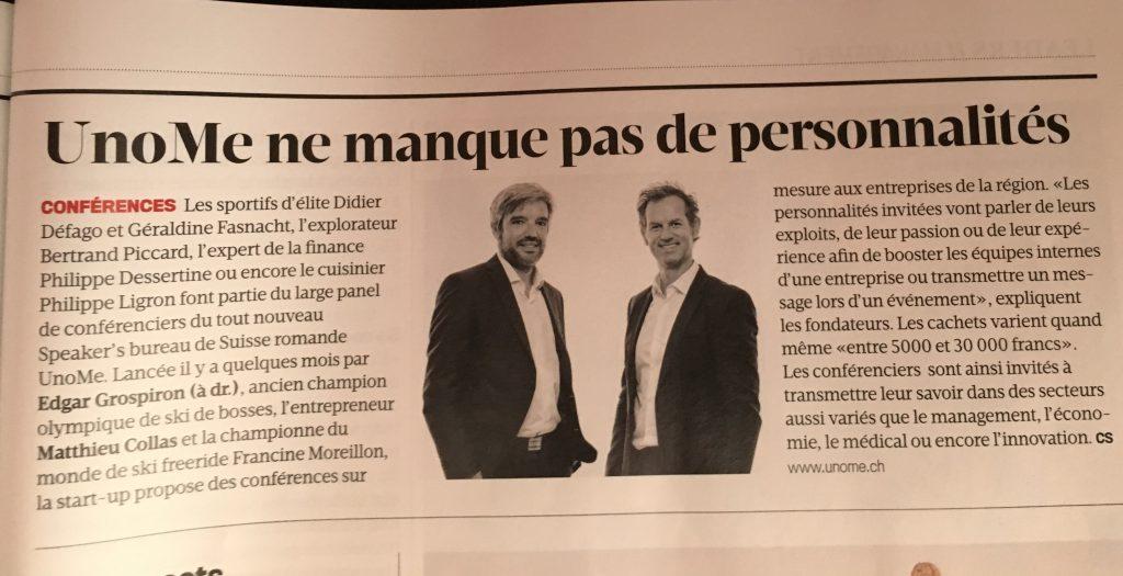 Article dans Bilan Magazine - UnoMe ne manque pas de personnalités pour des conférences en Suisse et à l'étranger